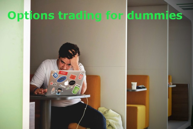Options trading for dummies says title on the top. Below a confused young man is thinking hard while leaning towards his laptop and pulling his hair with a hand.